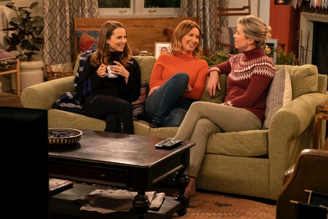 Emmy, Kayla, and Patsy sitting on the couch on Merry Happy Whatever