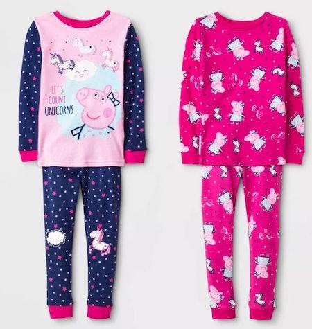 Toddler Girls' 4pc Peppa Pig Long Sleeve Pajama Set