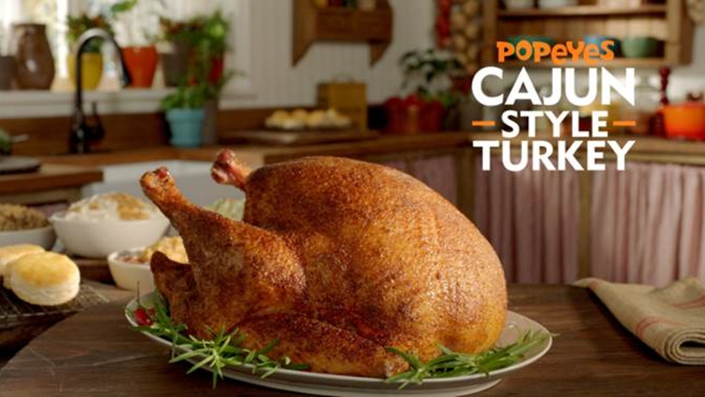The Price Of Popeyes' Cajun Style Turkey is just $39.99 for the pre-cooked bird.