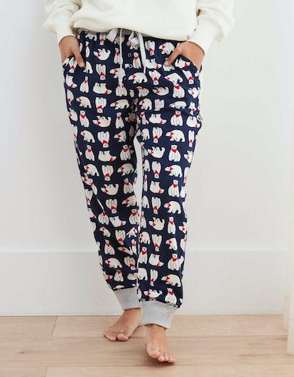"Aerie Flannel Pajama Joggers in ""True Rinse"""