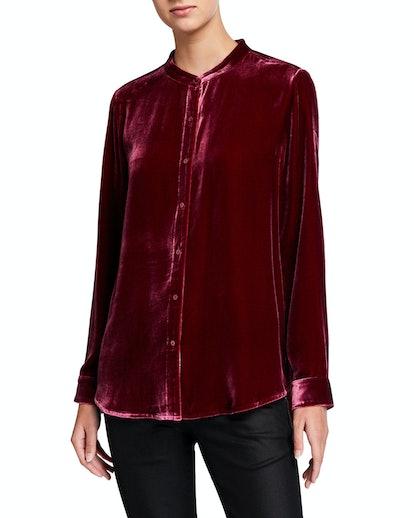Button-Front Long-Sleeve Velvet Shirt
