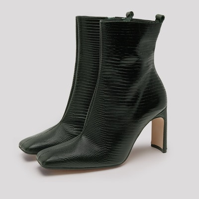 Marcelle Bottle Green Leather Boots