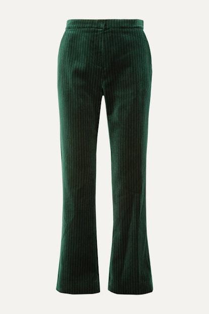 Metallic Pinstriped Cotton-Velvet Straight-Leg Pants