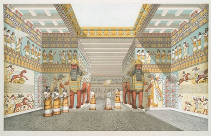 An artist's vision of the interior of an Assyrian palace, based on drawings made in 1849 by Austen H...