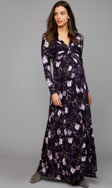 Twist Front Maxi Maternity Dress