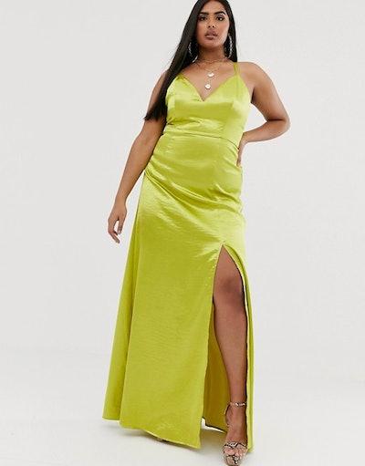 Club L London Plus Satin Plunge Front Maxi Dress