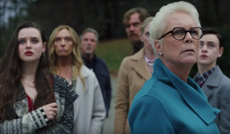 Still image featuring Jamie Lee Curtis from the trailer for Rian Johnson's 'Knives Out'.