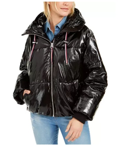 Tommy Hilfiger Shiny Black Puffer Coat