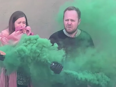 "A gender reveal prank pokes fun at the ""cultural obsession"" of gender reveal parties."