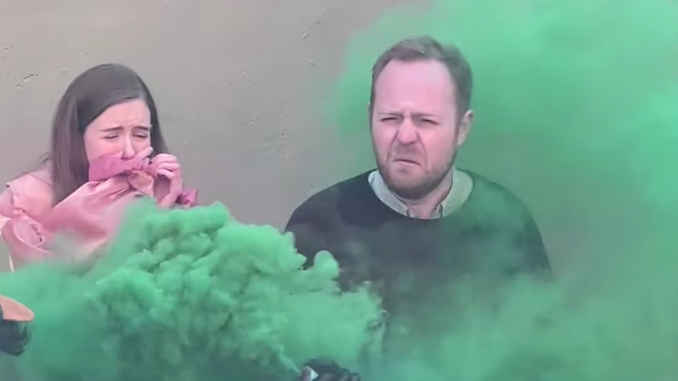 """A gender reveal prank pokes fun at the """"cultural obsession"""" of gender reveal parties."""