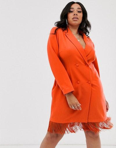 Fringe-Hem Detail Blazer Dress