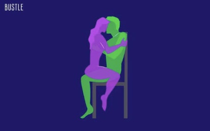 A drawn image of a couple having sex on a chair.