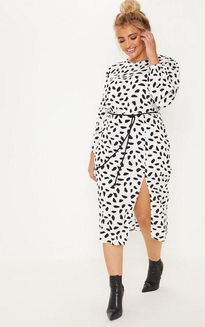Plus Dalmatian Print Midi Dress