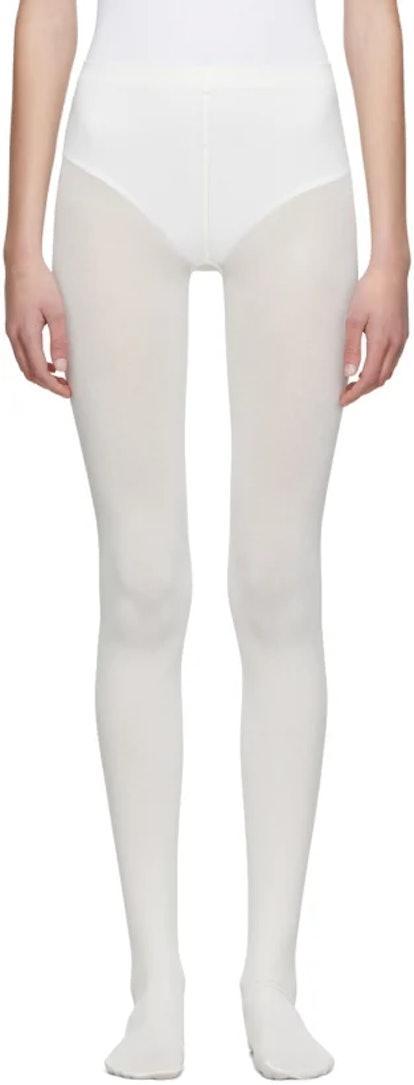 White Cotton Velvet Tights