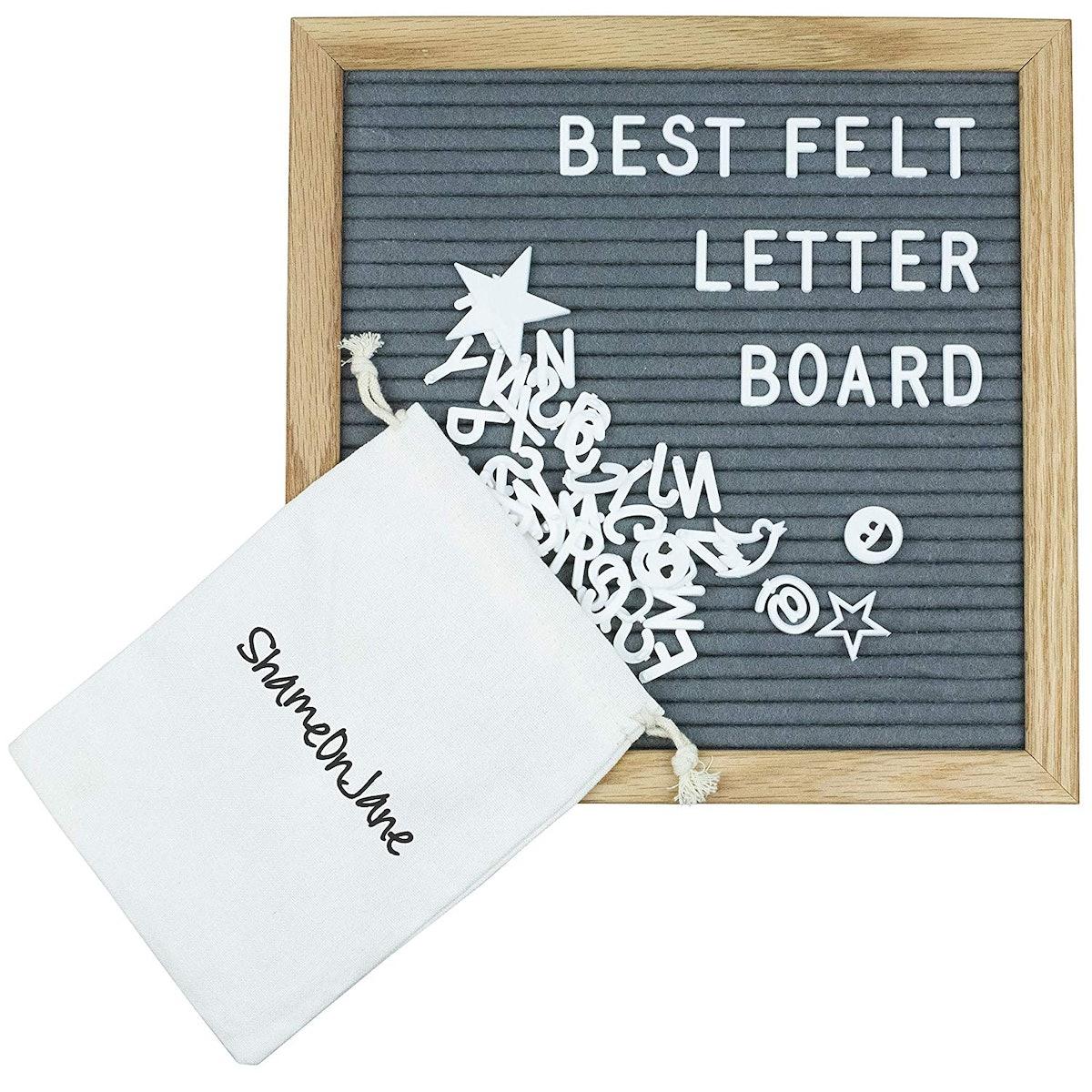 ShameOnJane Grey Changeable Felt Letter Board