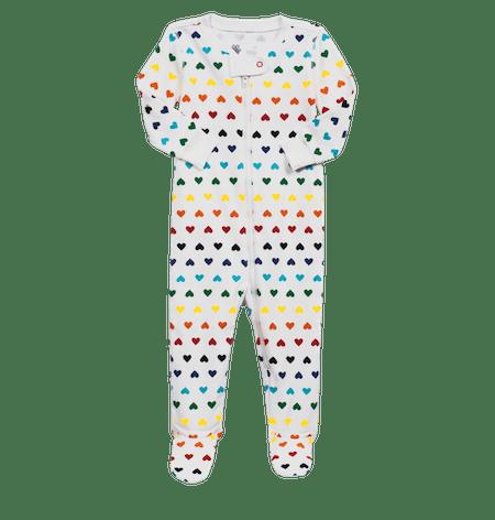 Rainbow Heart Stripe Baby Footie