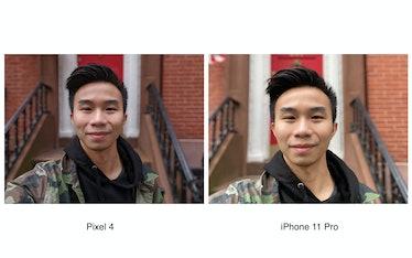 Pixel 4 portrait selfie comparison