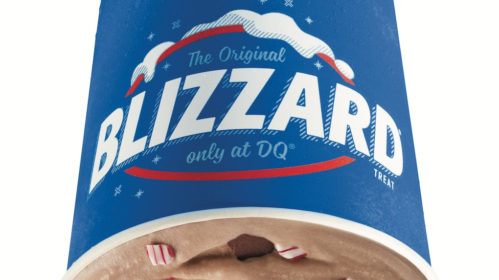 Dairy Queen's new Peppermint Hot Cocoa Blizzard is a chilly holiday treat.
