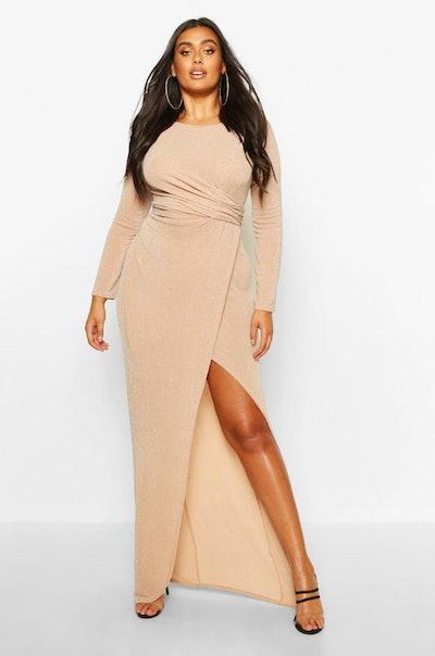 Plus Glitter Twist Split Maxi Dress