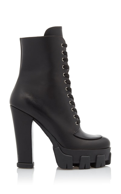 Lace-Up Leather Platform Boots