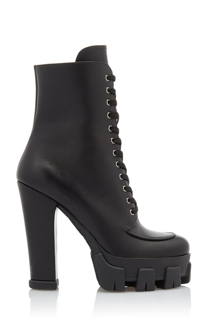 Lace-Up Leather Platform Boots