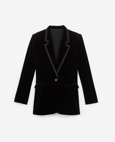 Stretchy Black Velvet Jacket W/Notched Lapels