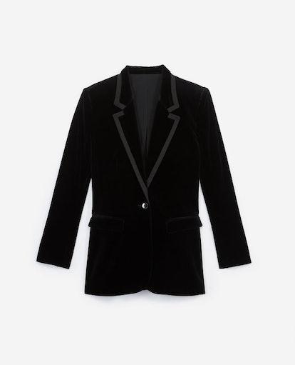 Stretchy Black Velvet Jacket W/Notched Lapels