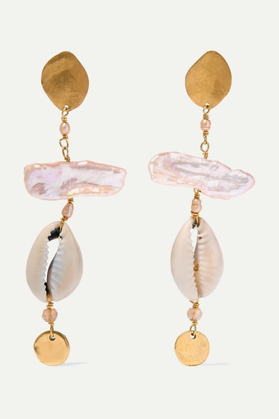 Pearl, Shell, and Citrine Earrings