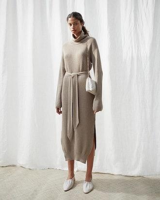 Knit Turtleneck Dress - Taupe