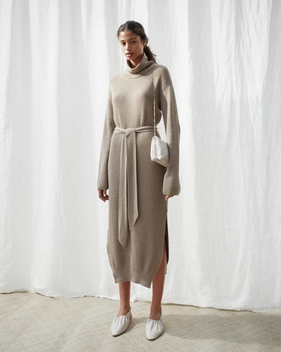 Knit Turtleneck Dress - Taupe