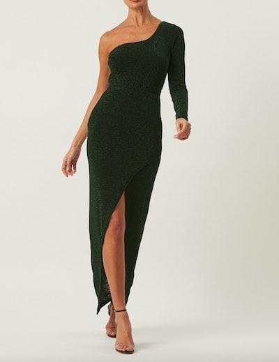 Emerald Green One Shoulder Maxi Dress