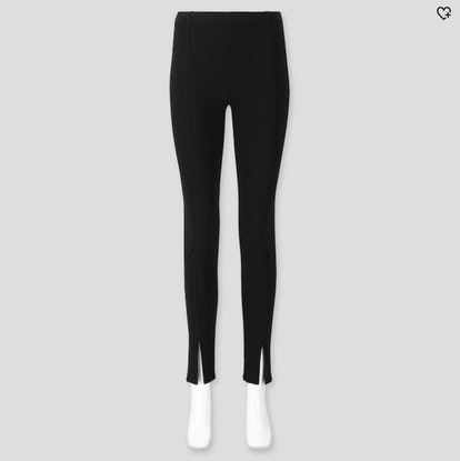 Women Ribbed Front-Slit Leggings