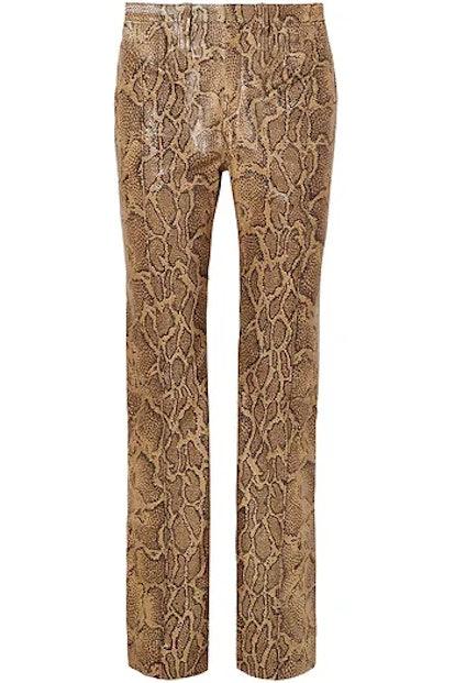 Snake-Effect Leather Straight-Leg Pants