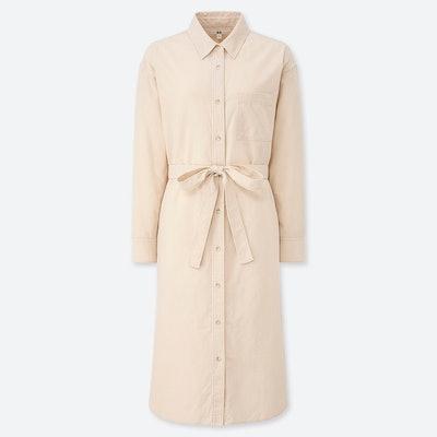 Corduroy Long-Sleeve Shirt Dress