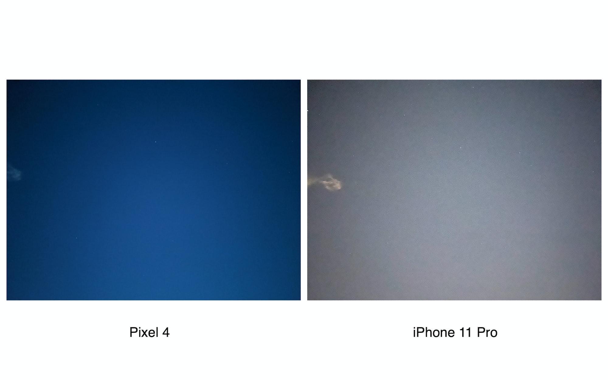 Pixel 4 vs. iPhone 11 Pro astrophography comparison