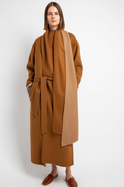 Camel Double-Faced Wool Scarf DB Coat