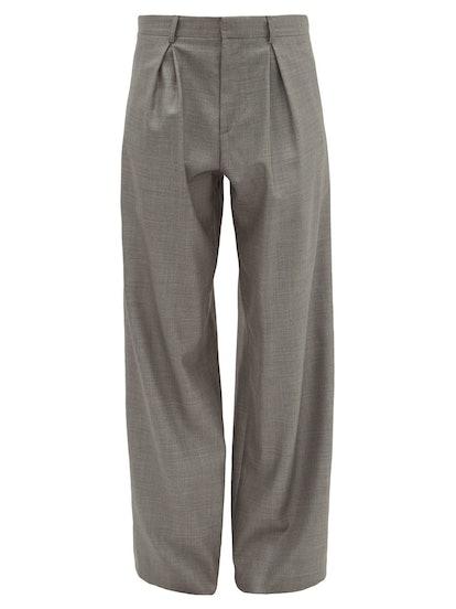 Wide-Leg Wool-Blend Trousers