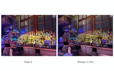 Pixel 4 Night Sight vs. iPhone 11 Pro Night Mode.