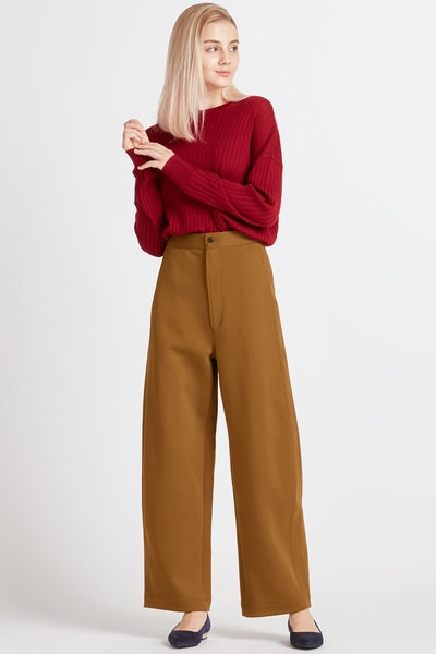 U Wide-Fit Curved Jersey Pants