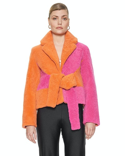 Colorblock Shearling Wrapis Jacket