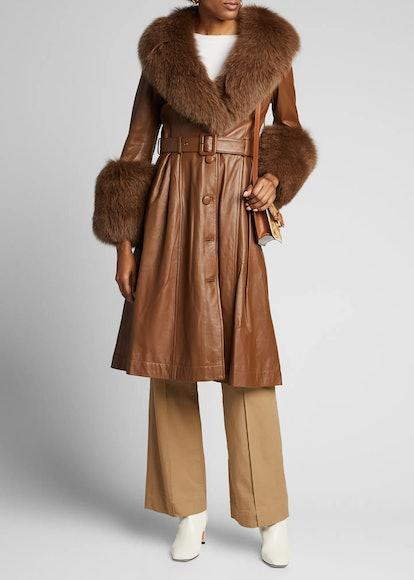 Foxy Long Lamb Leather Fox Fur-Trim Coat, Brown