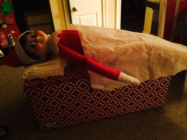 You can let your Elf rest for the day on a box of tissues to recover if Your Elf on the Shelf is touched.