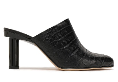 Zoe patent leather-trimmed crocodile mules