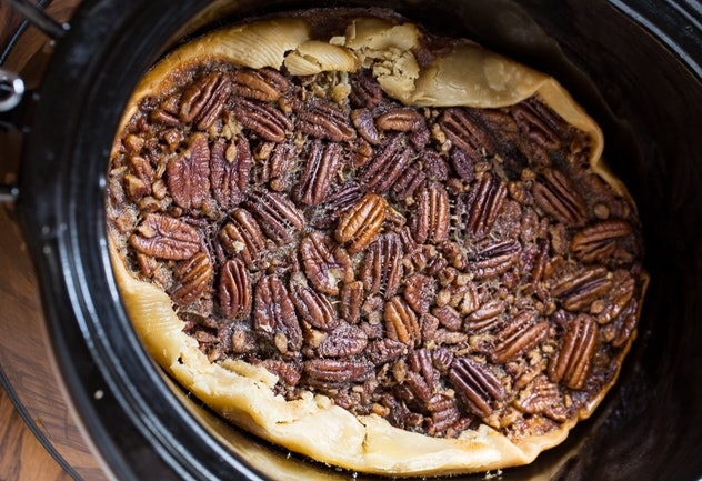 Pecan pie you can make in your crock-pot for Thanksgiving dessert