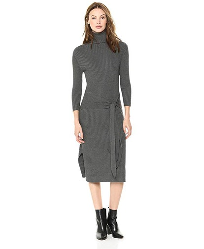 Cable Stitch Women's Turtleneck Ribbed Sweater Dress