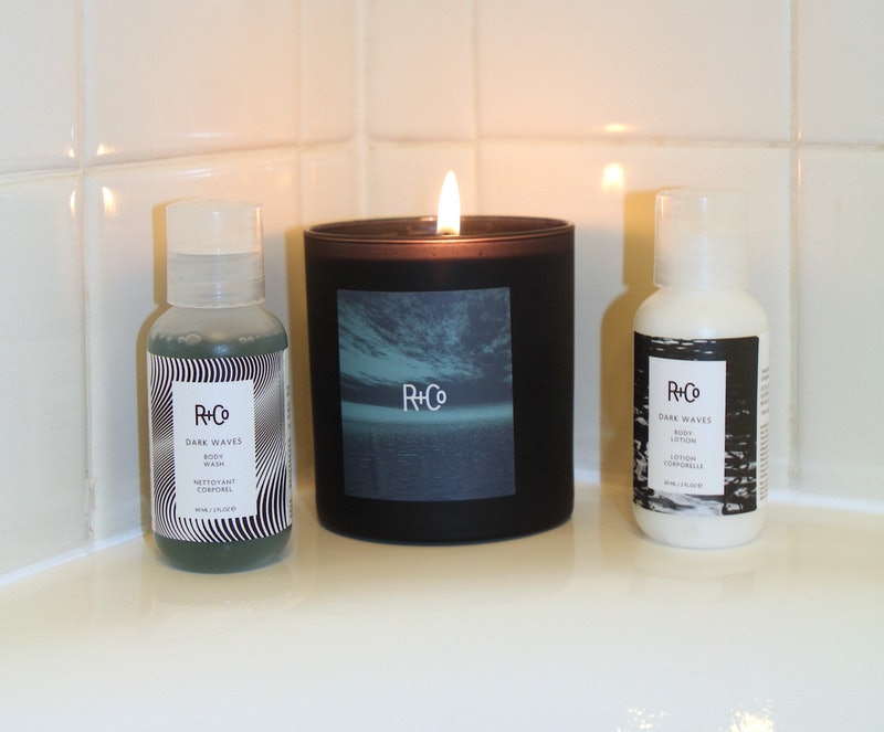 Luxe candles that are worth the splurge include R+Co's new Dark Waves candle