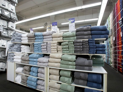 interior shot of bed bath and beyond; towel section