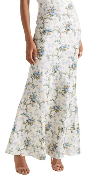 Sophie floral-print silk-taffeta maxi skirt