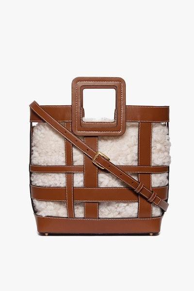 Plaid Shirley Bag Saddle Natural