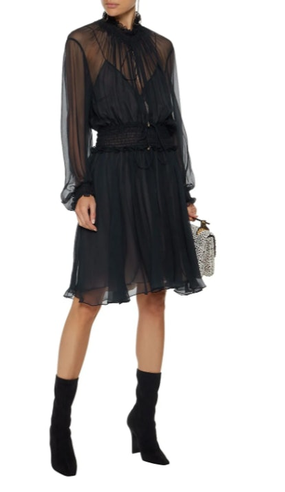 Ruffle-trimmed shirred silk-gauze dress